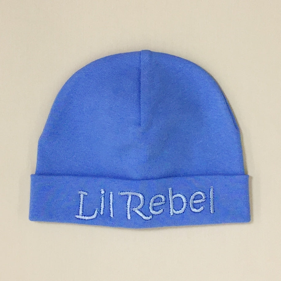 Lil Rebel embroidered baby hat in Deep Blue Made in Canada