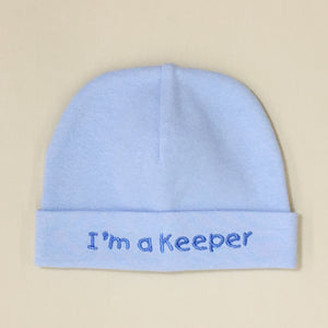 I'm a Keeper embroidered baby hat in blue Made in Canada