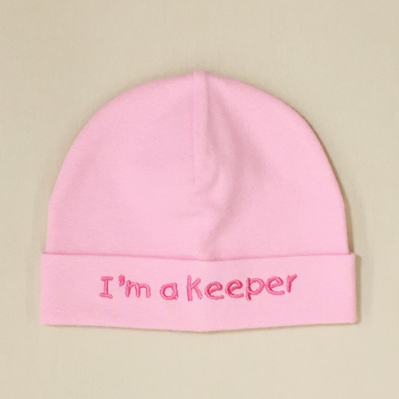 I'm a Keeper embroidered baby hat in pink Made in Canada