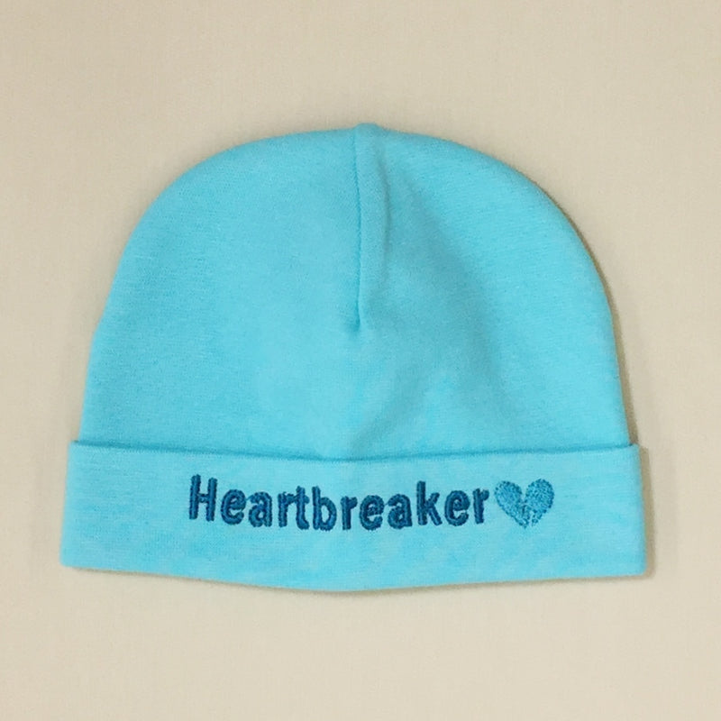 Heartbreaker embroidered baby hat in Turquoise Made in Canada
