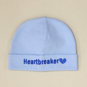 Heartbreaker embroidered baby hat in blue Made in Canada