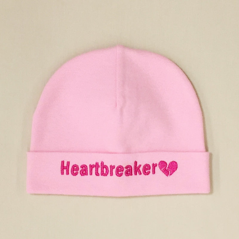 Heartbreaker embroidered baby hat in Pink Made in Canada