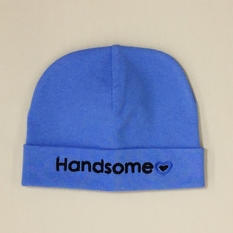 Handsome embroidered baby hat in Deep Blue Made in Canada