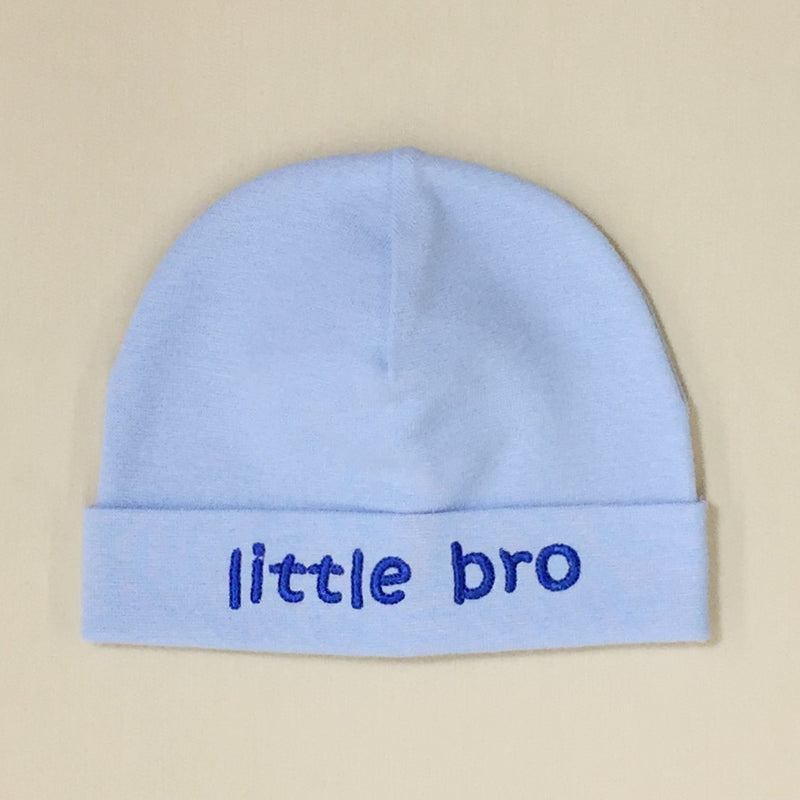Little Bro embroidered baby hat in blue Made in Canada