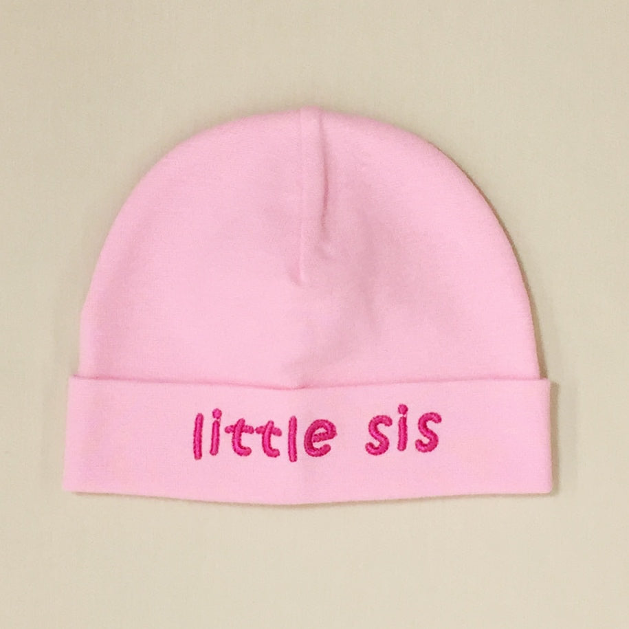Little sis embroidered  baby hat in pink Made in Canada