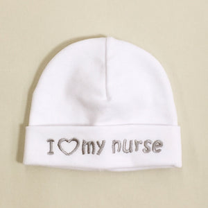 I Love My Nurse embroidered Preemie baby hat in White Made In Canada