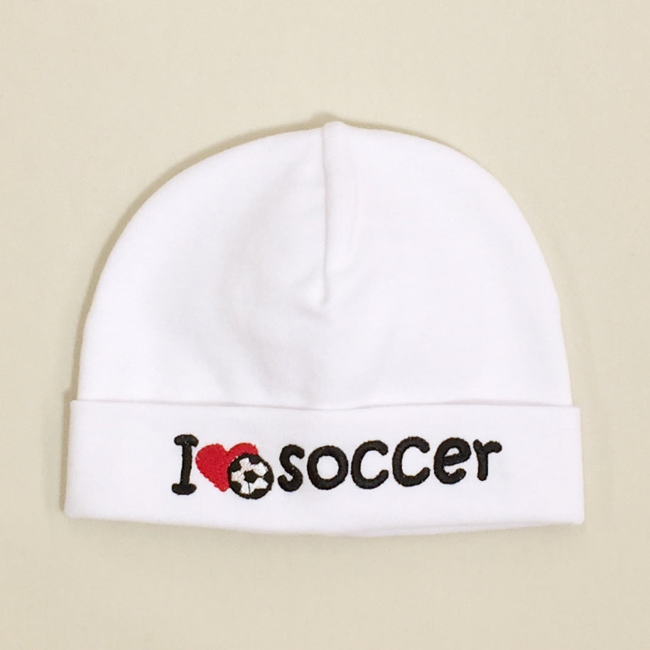 I Love Soccer embroidered baby hat in white Made in Canada