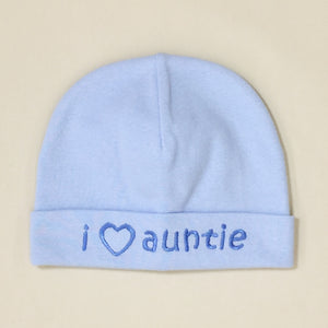 I Love Auntie embroidered baby hat in blue Made in Canada