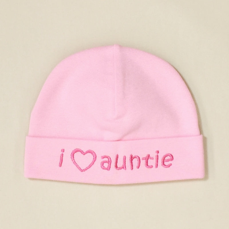 I Love Auntie embroidered baby hat in pink Made in Canada