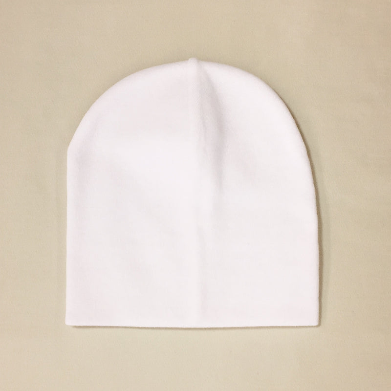 white cotton baby hat no brim