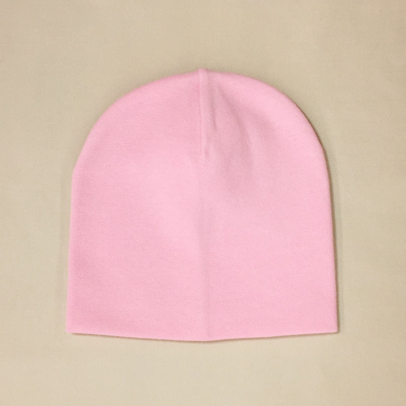 pink cotton baby hat no brim