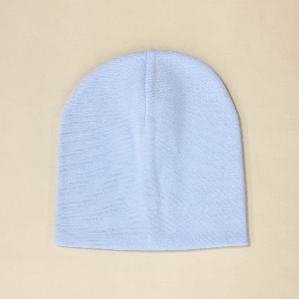 blue cotton baby hat no brim