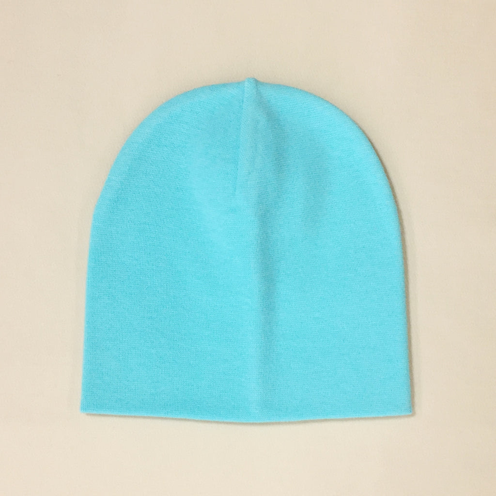 turquoise cotton baby hat no brim