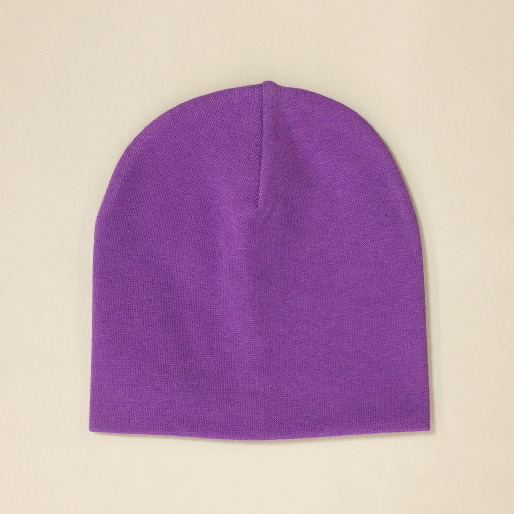 purple cotton baby hat no brim