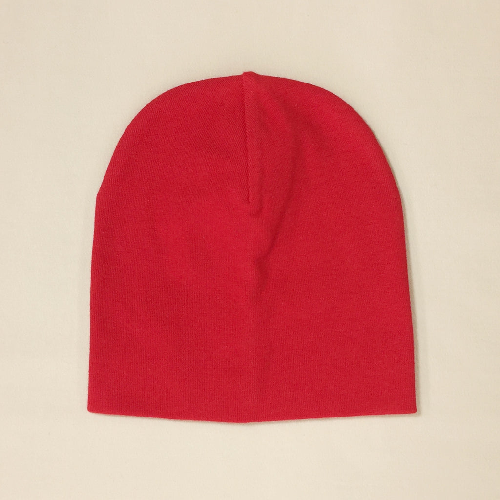 red cotton baby hat no brim