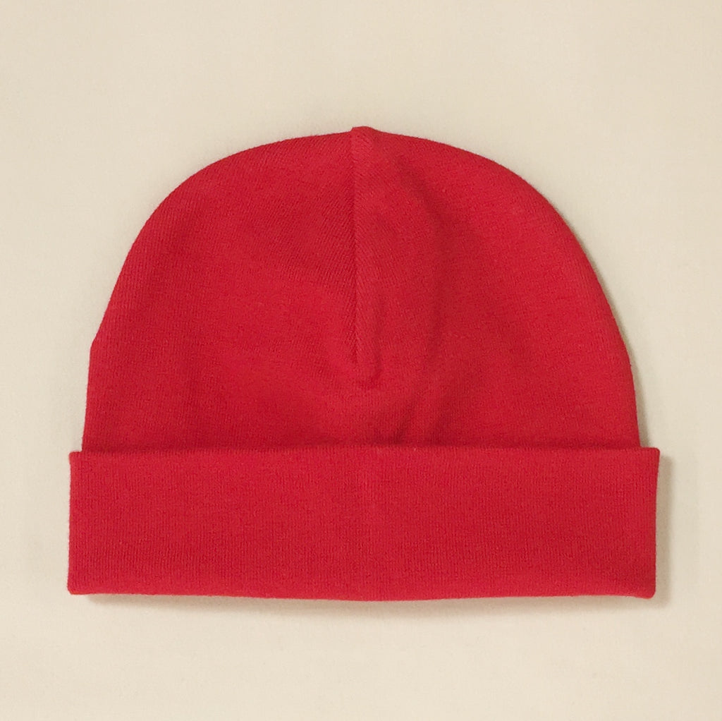 red cotton baby hat with brim