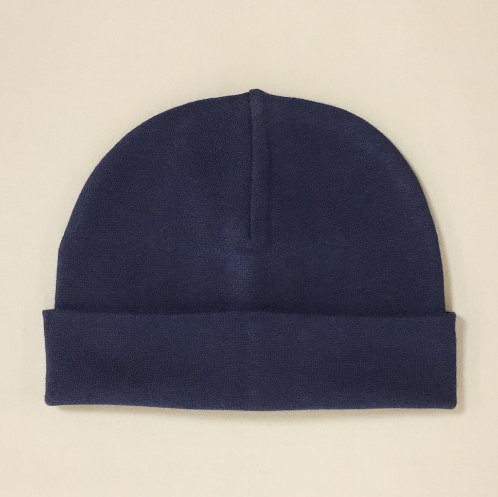 navy cotton baby hat with brim