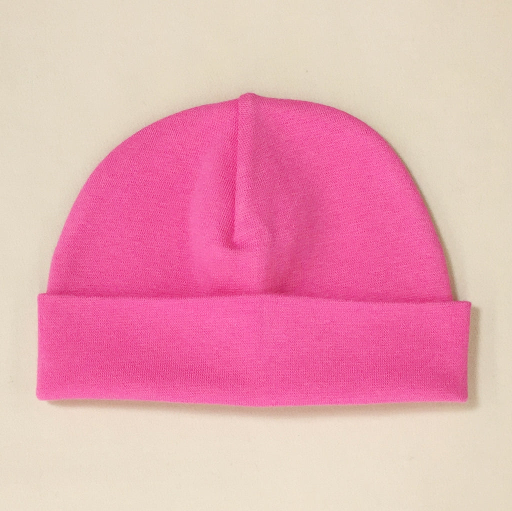 fuchsia cotton baby hat with brim