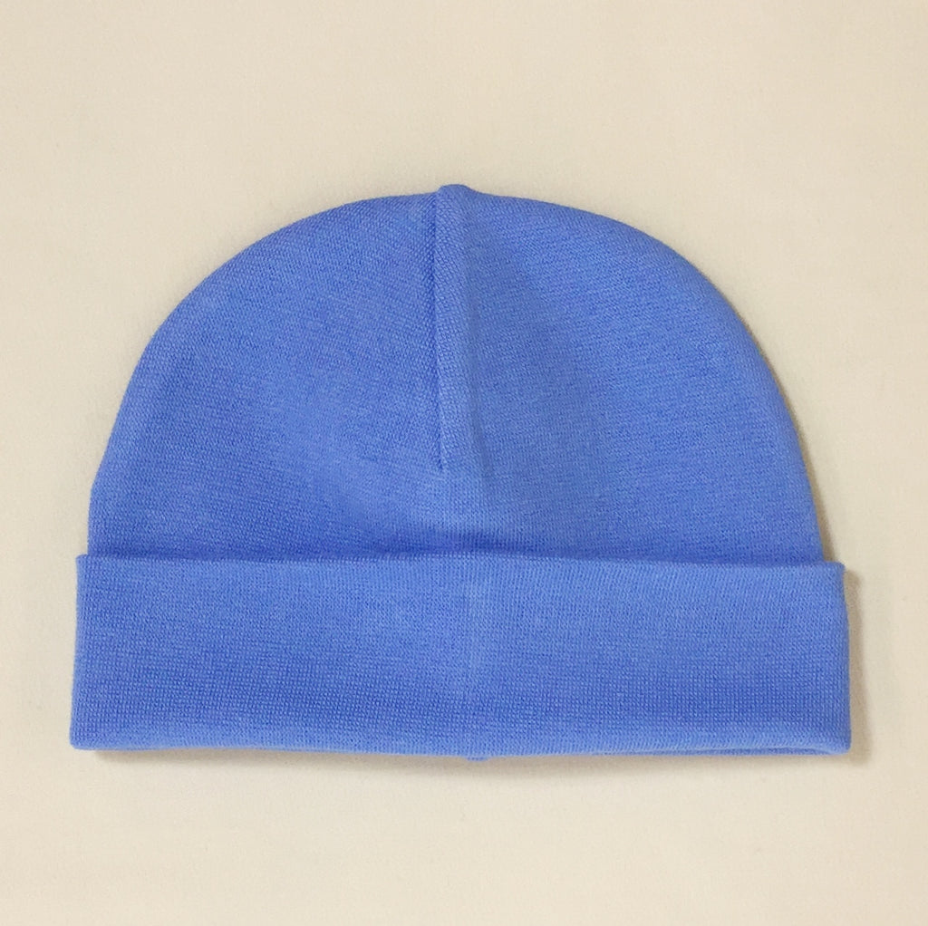 deep blue cotton baby hat with brim