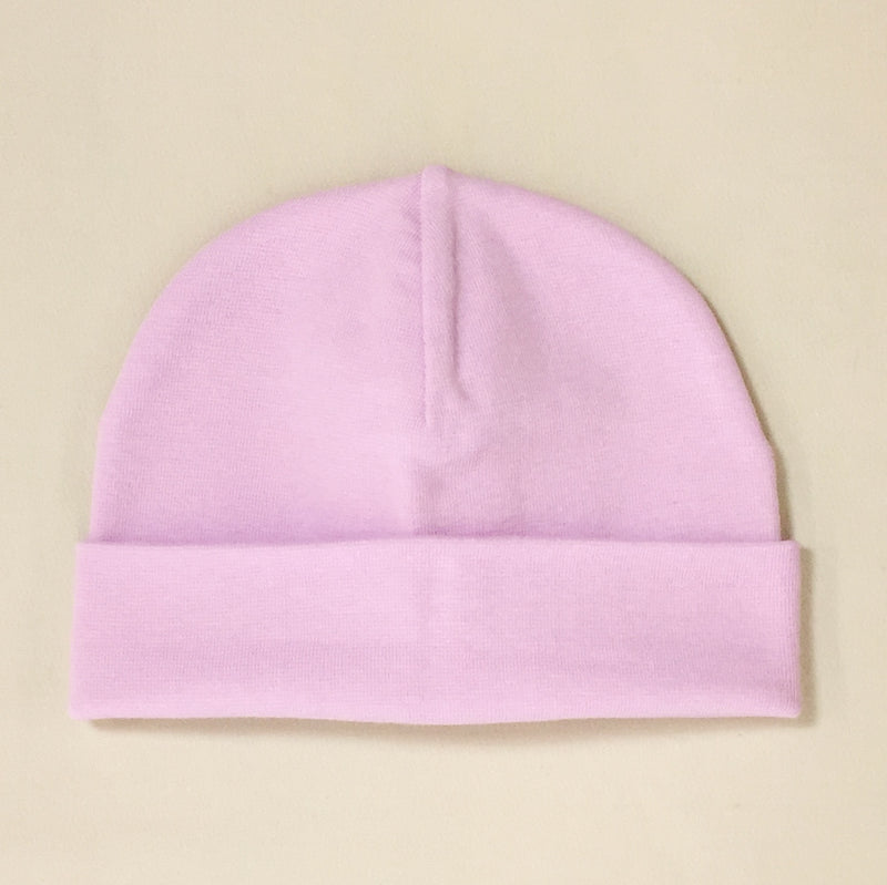 lilac cotton baby hat with brim