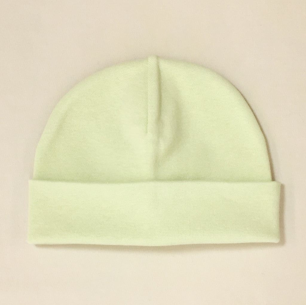 green cotton baby hat with brim