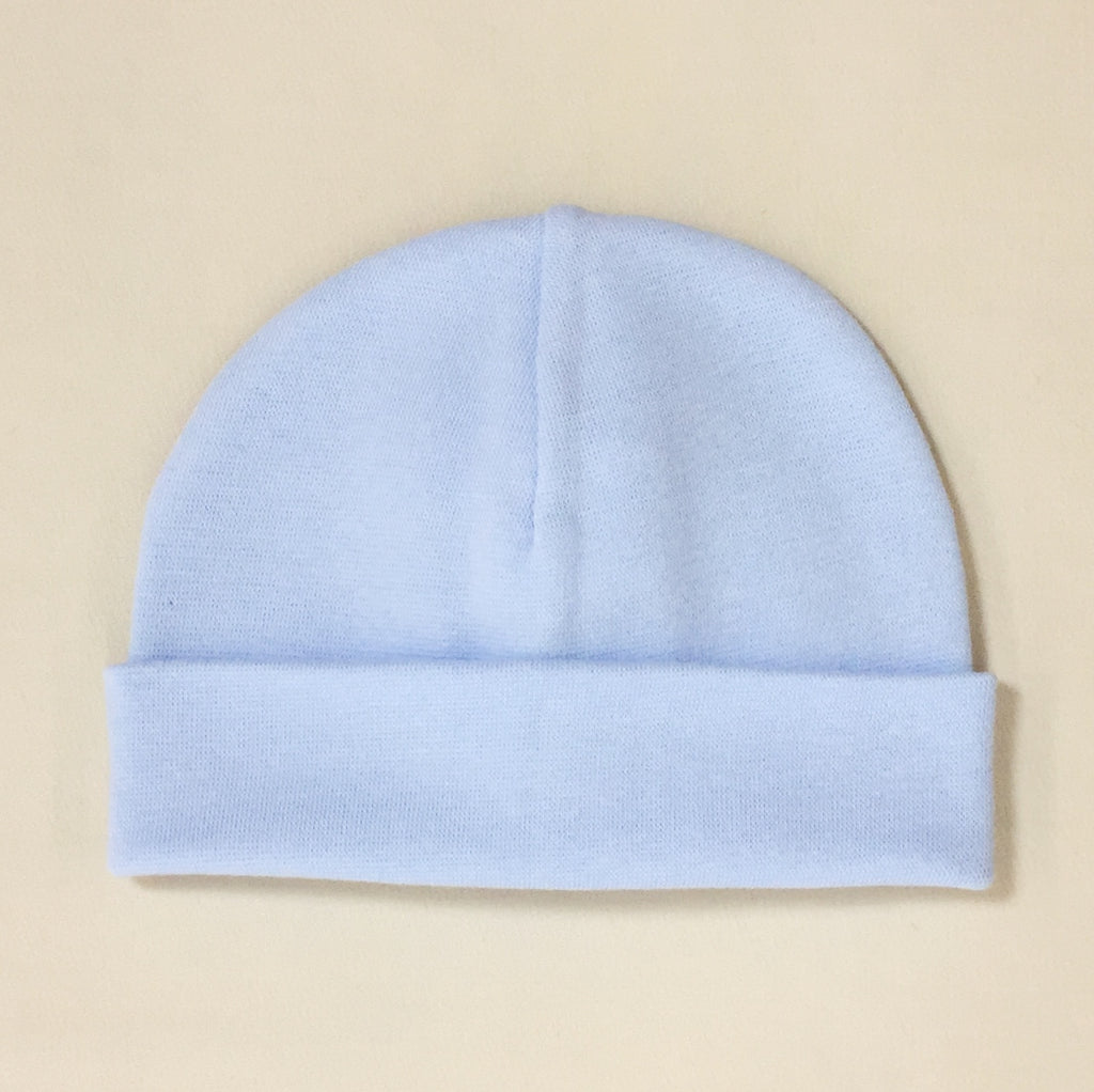 blue cotton baby hat with brim