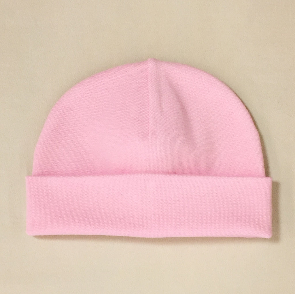 pink cotton baby hat with brim