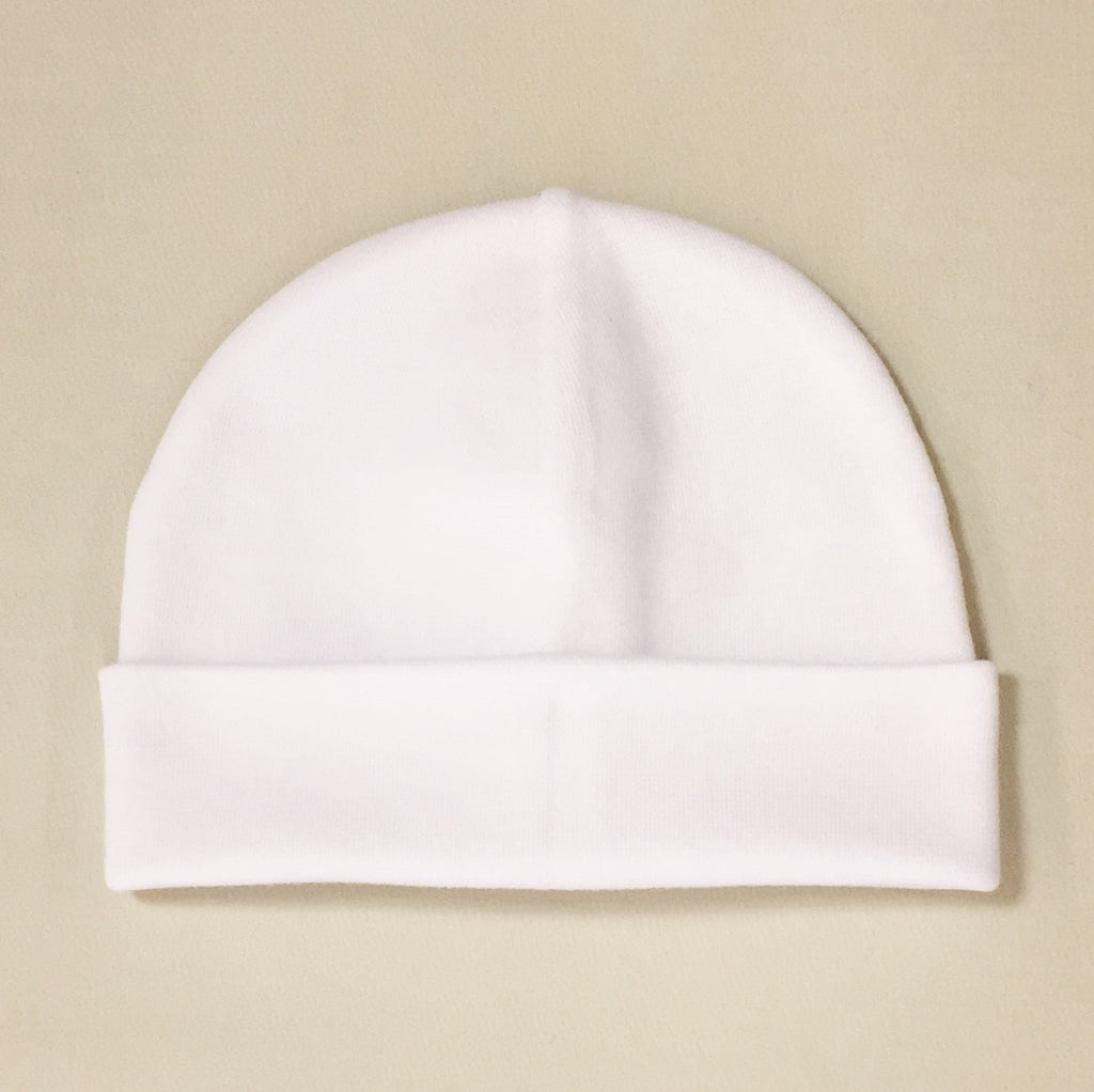 white cotton baby hat with brim