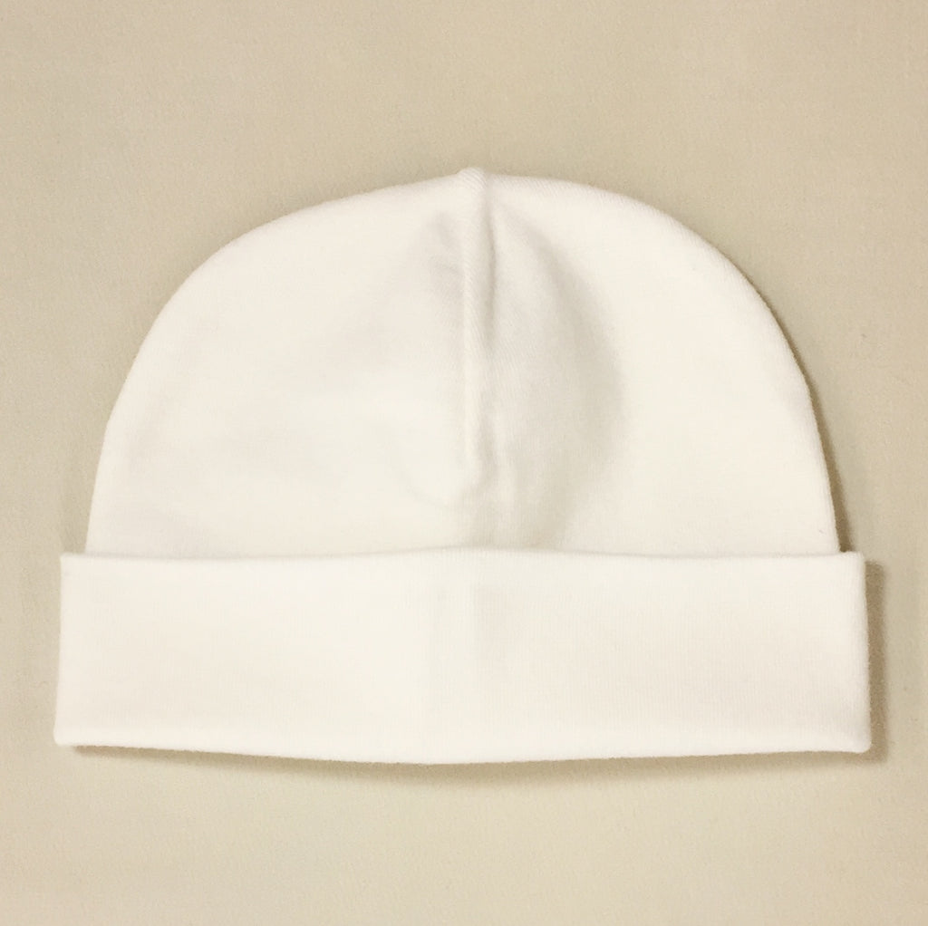 cream cotton baby hat with brim
