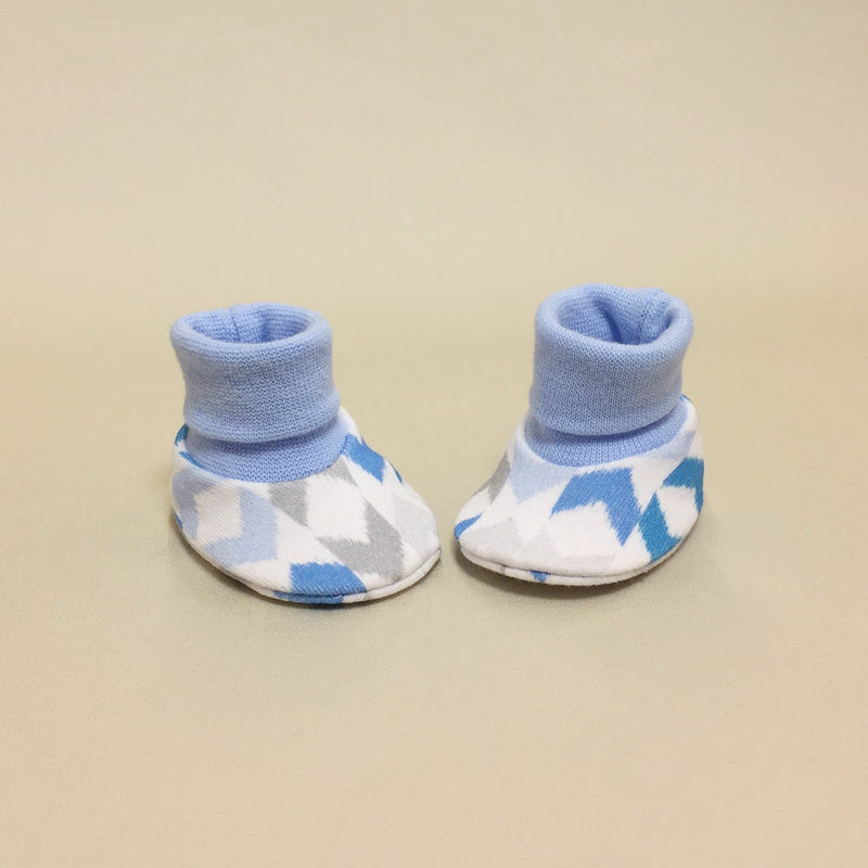 NICU Chevron Blue cotton preemie baby booties socks