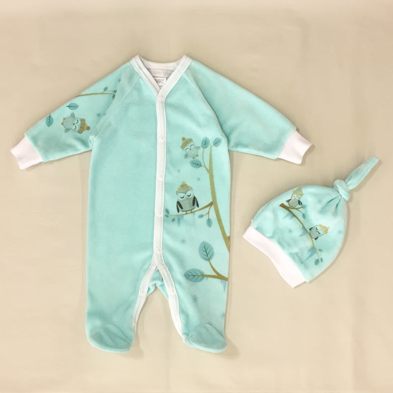 Cozy Owl Velour Set in Aqua