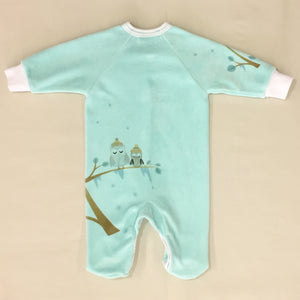 Cozy Owl Velour Set in Aqua Back