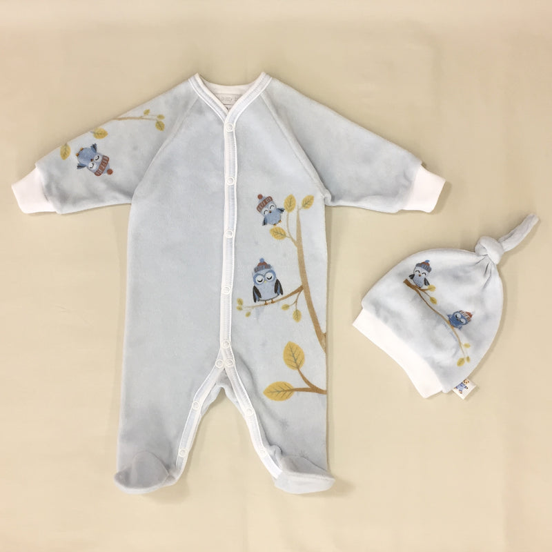 Cozy Owl Velour Set in Blue Back