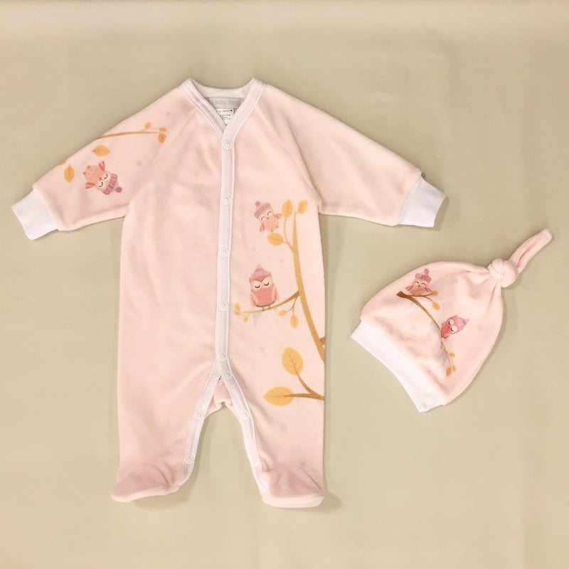 Cozy Owl Velour Set in Pink