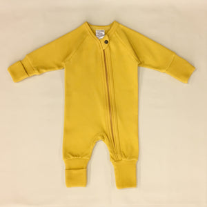 Prairie Harvest Zipper Playsuit with fold over cuffs for hands and feet.