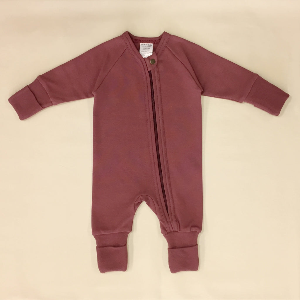 Crushed Berry Zipper Playsuit with fold over cuffs for hands and feet.