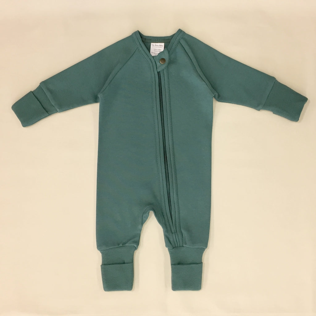 Spruce Forest Zipper Playsuit with fold over cuffs for hands and feet.