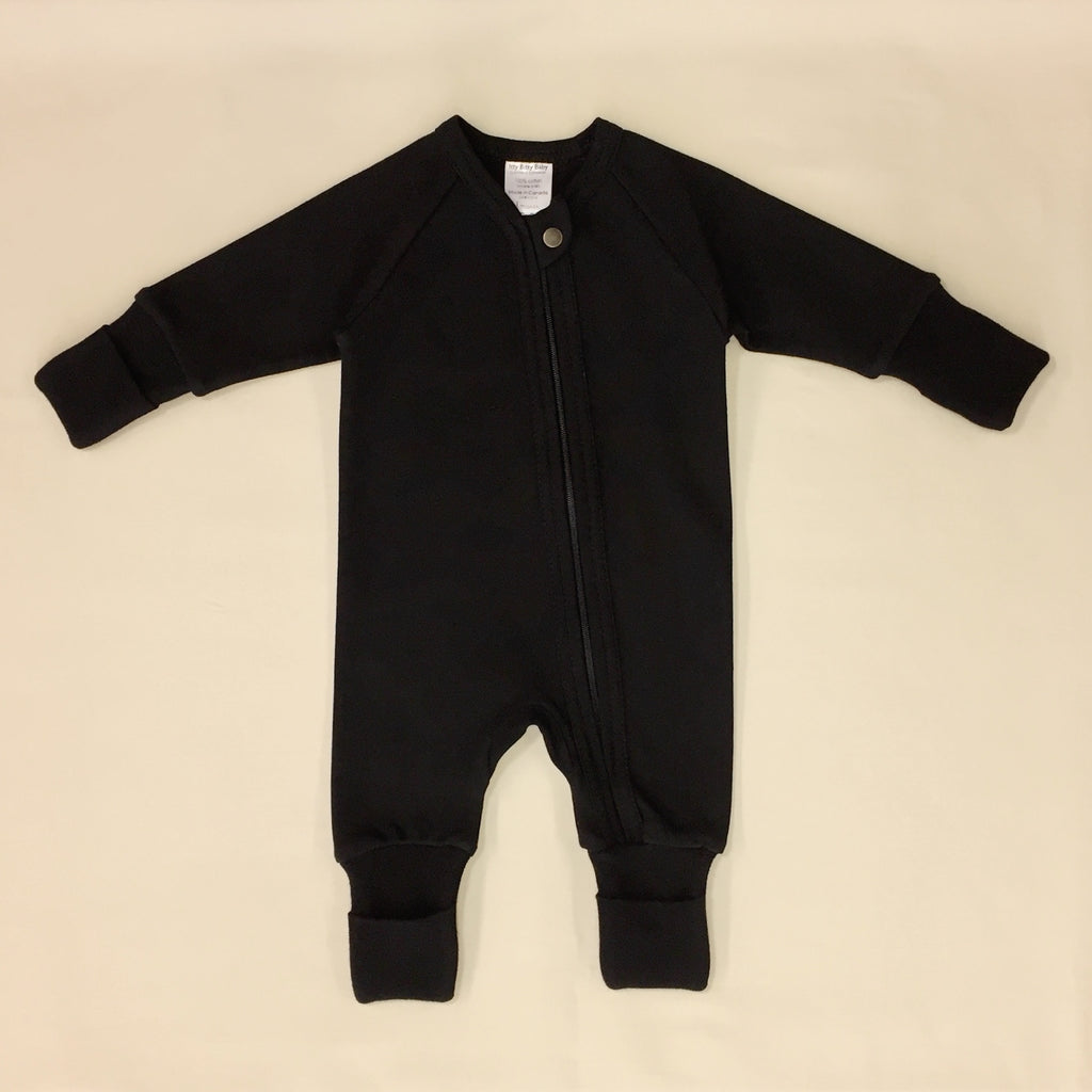 Boreal Night Zipper Playsuit with fold over cuffs for hands and feet.