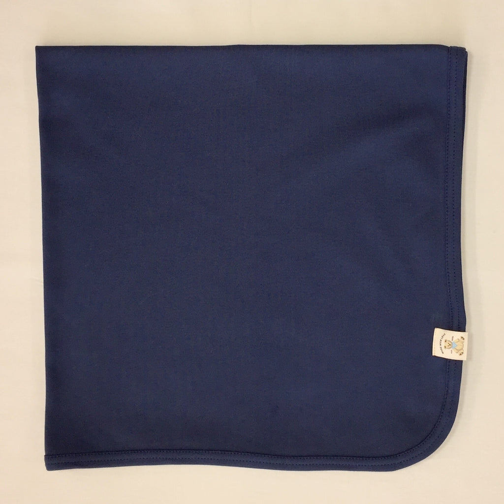 Minimalist cotton baby swaddle blanket in Deep Lake. Made in Canada