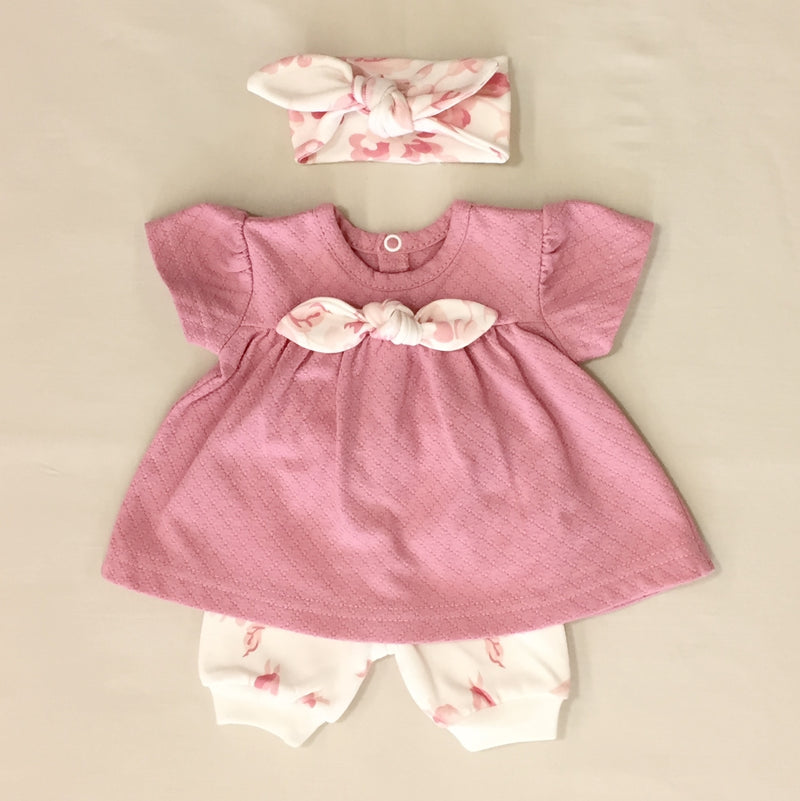Pressed Rose Vintage Rose Dress set with bloomers and headband Made in Canada