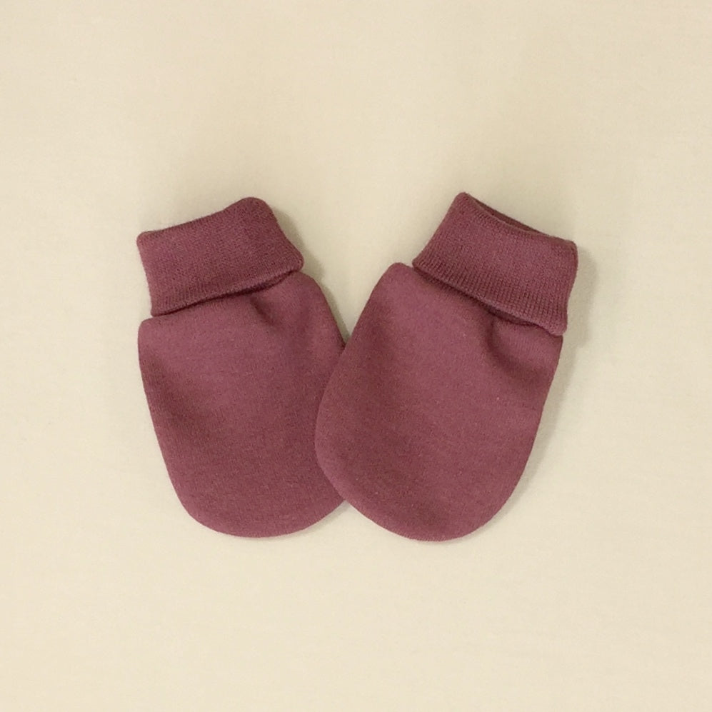 Solid Colour cotton scratch mittens  in Crushed Berry. Made in Canada