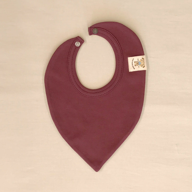 Trendy Minimalist Baby Bandana Bib in Crushed Berry. Made in Canada