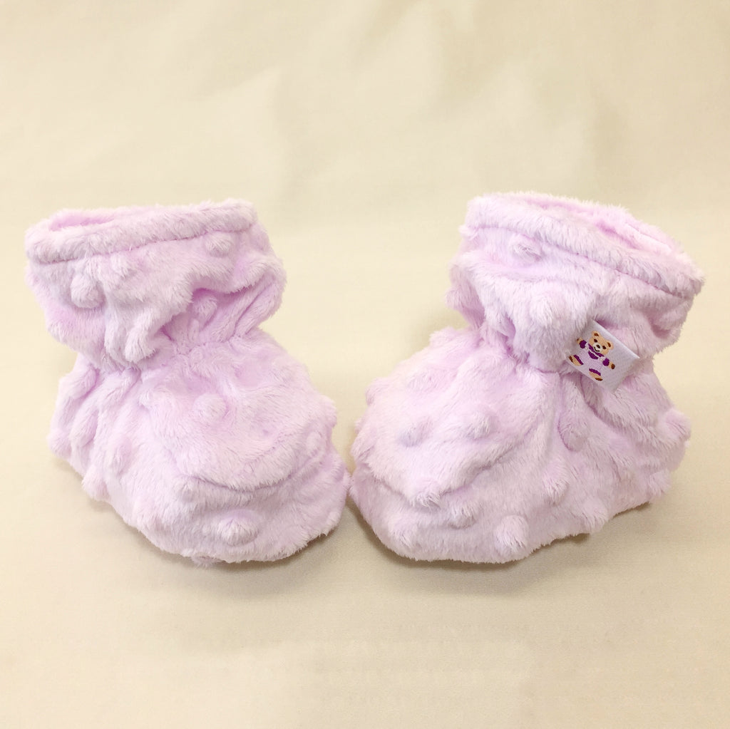 Minky Baby Booties Lilac Made in Canada