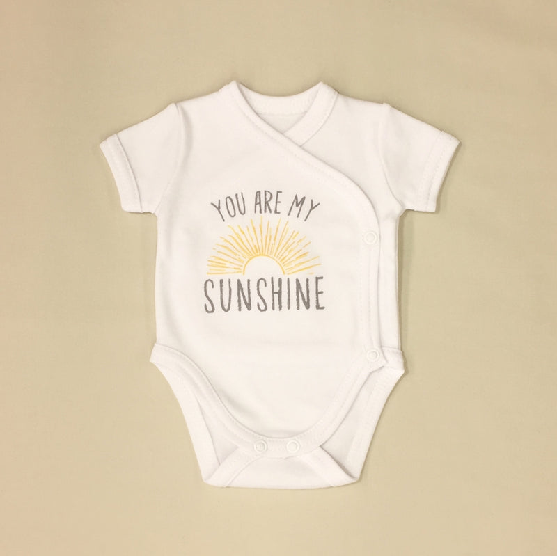 NICU Friendly Graphic Kimono Bodysuit You Are My Sunshine Made in Canada
