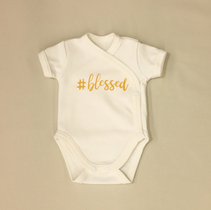 NICU Friendly Kimono Baby Bodysuit #blessed Made in Canada