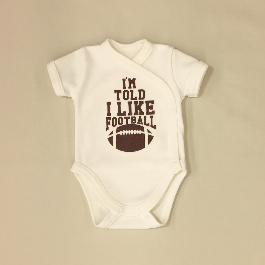 NICU Friendly Kimono Baby Bodysuit I'm told I Like Football Made in Canada