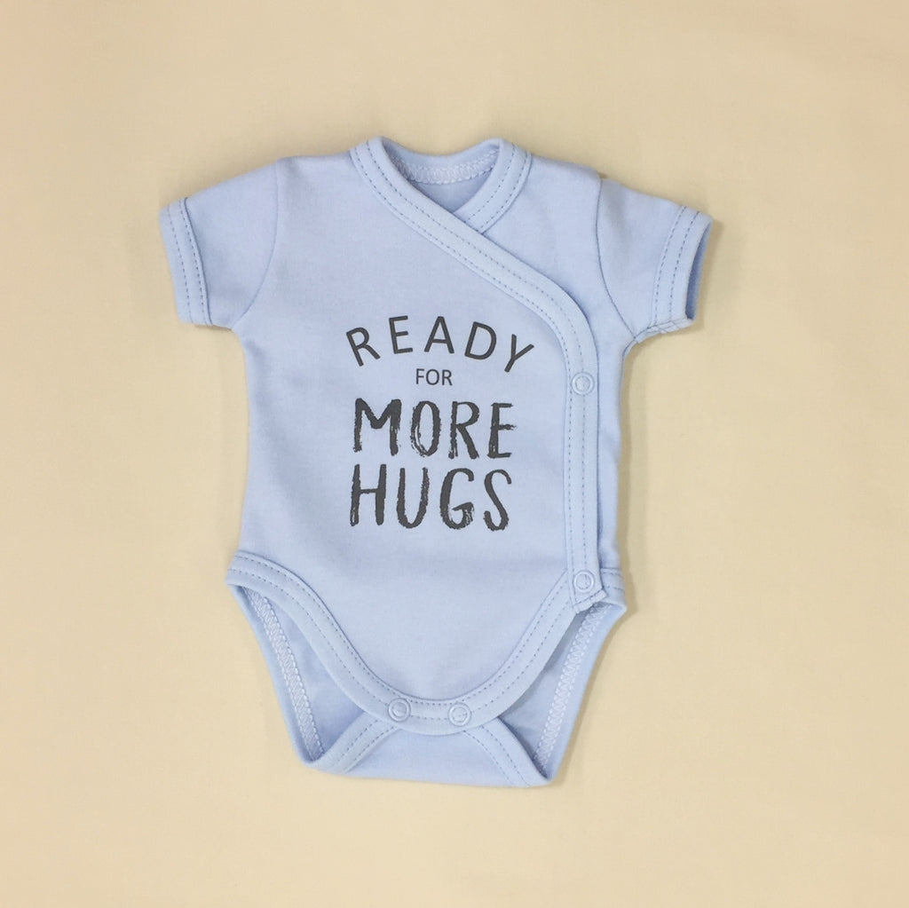 NICU Friendly Graphic Kimono Bodysuit Ready for more Hugs Blue Made in Canada