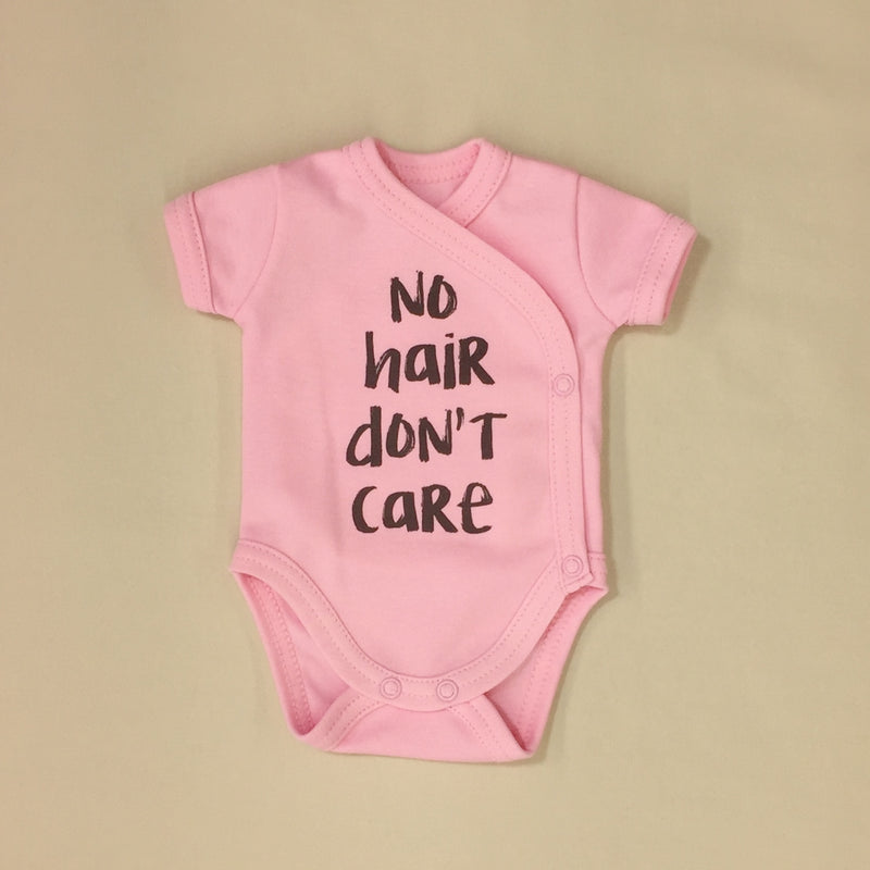 NICU Friendly Graphic Kimono Bodysuit No Hair Don't Care Made in Canada