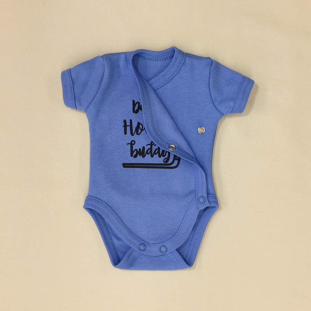 NICU Friendly Kimono Baby Bodysuit Daddy's Hockey Buddy Made in Canada