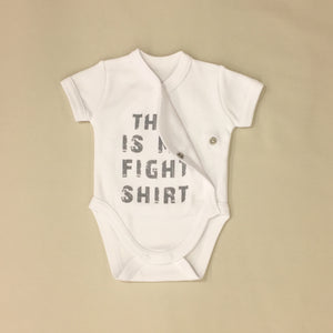 NICU Friendly Graphic Kimono Bodysuit This is my Fight Shirt White Made in Canada